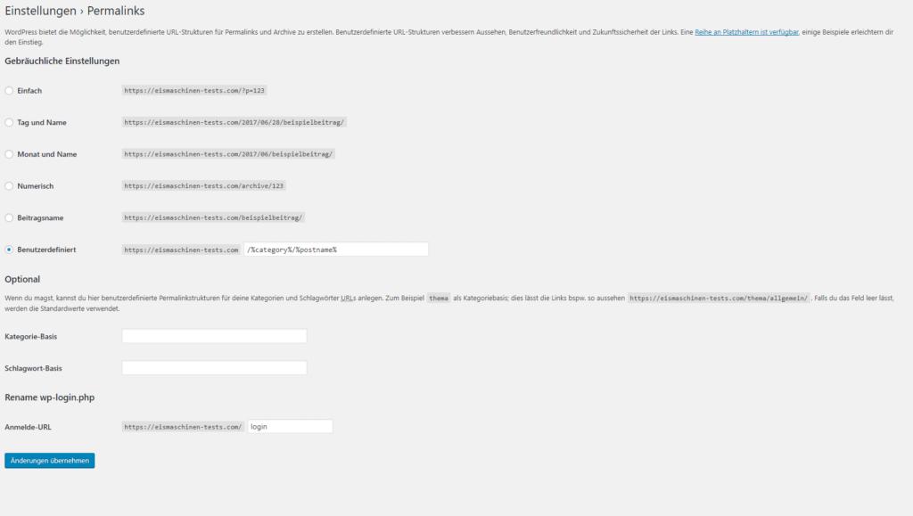 Admin URL bearbeiten